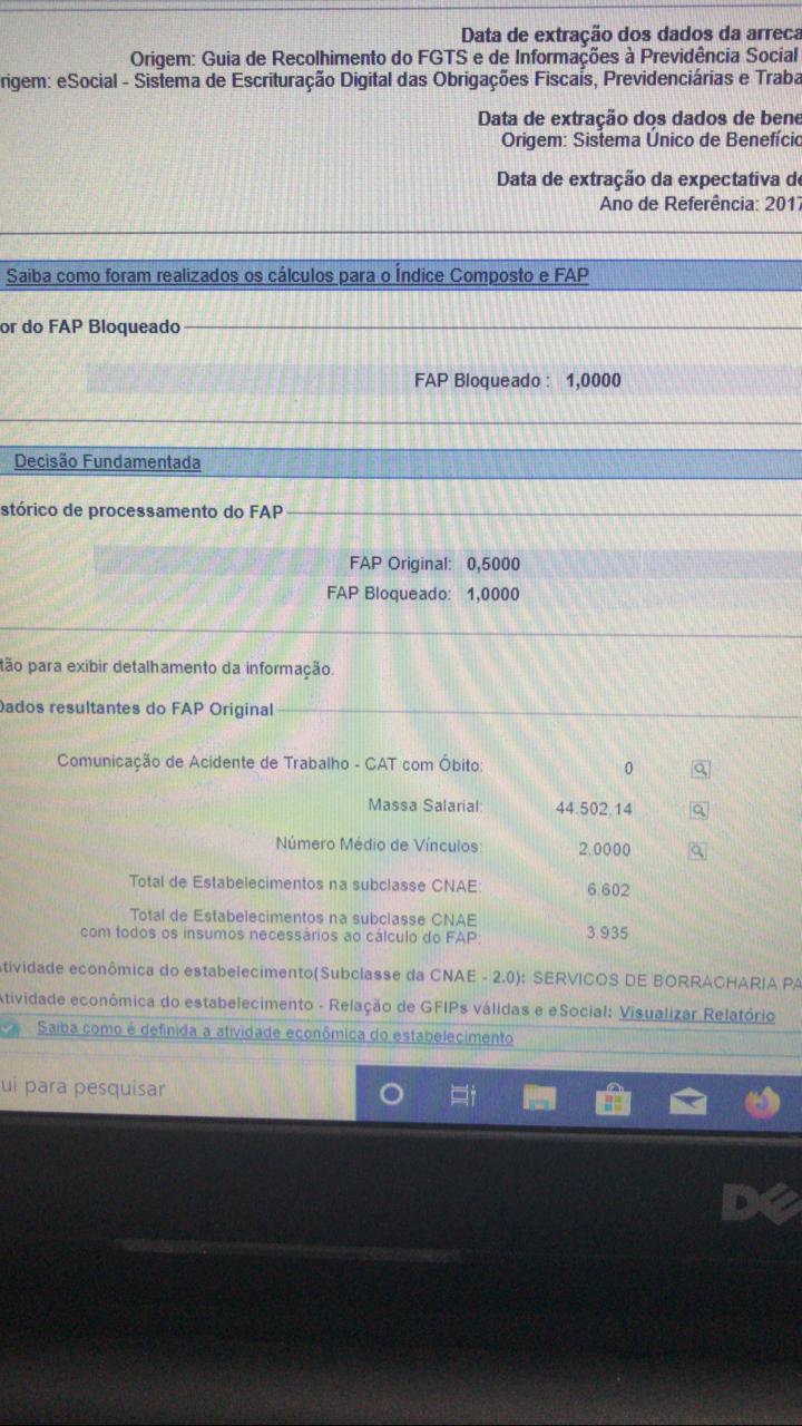 Exemplo de Consulta FAP aonde o Resultado Apresentou FAP Original e FAP Bloquado